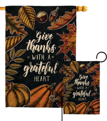 Grateful Heart - Thanksgiving Fall Vertical Impressions Decorative Flags HG137284 Made In USA