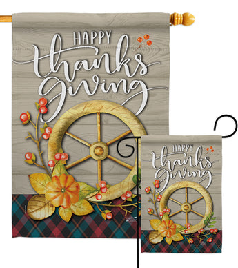 Thanksgiving Fall - Thanksgiving Fall Vertical Impressions Decorative Flags HG137287 Made In USA