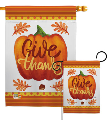 Pumpkin Give Thanks - Thanksgiving Fall Vertical Impressions Decorative Flags HG192139 Made In USA