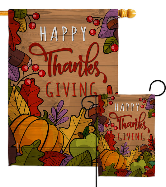 Happy Thanks Giving - Thanksgiving Fall Vertical Impressions Decorative Flags HG192294 Made In USA
