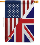 US UK Friendship - US Friendship Flags of the World Vertical Impressions Decorative Flags HG108380 Made In USA