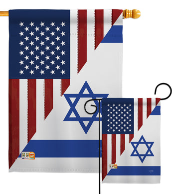 US Israel Friendship GF - US Friendship Flags of the World Vertical Impressions Decorative Flags HG108388 Made In USA