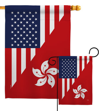 US Hong Kong Friendship - US Friendship Flags of the World Vertical Impressions Decorative Flags HG108436 Made In USA