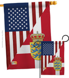 US Denmark Friendship - US Friendship Flags of the World Vertical Impressions Decorative Flags HG108387 Made In USA