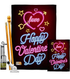 Neon Valentines Love - Valentines Spring Vertical Impressions Decorative Flags HG101057 Made In USA