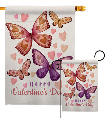 Butterflies Loves - Valentines Spring Vertical Impressions Decorative Flags HG101067 Made In USA