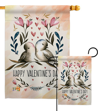 Love Birds Valentines - Valentines Spring Vertical Impressions Decorative Flags HG137015 Made In USA