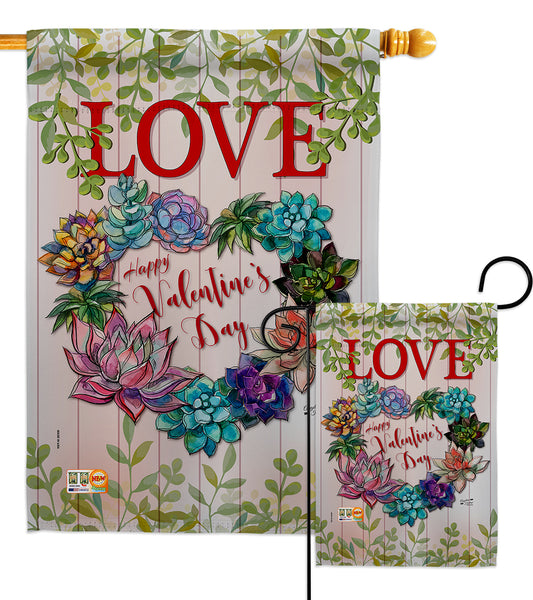 Succa for Love - Valentines Spring Vertical Impressions Decorative Flags HG137147 Made In USA