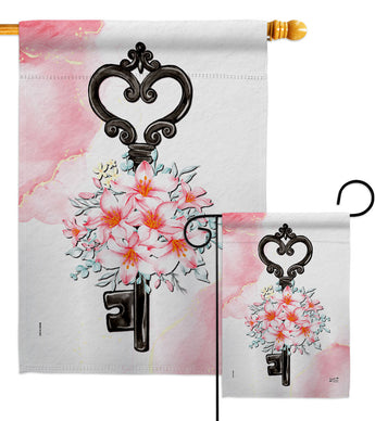 Key of Bouquet - Valentines Spring Vertical Impressions Decorative Flags HG137489 Made In USA