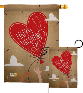 Sweet Valentine's Day Balloon - Valentines Spring Vertical Impressions Decorative Flags HG191099 Made In USA