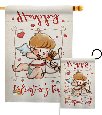 Happy Valentine's Day Cupid - Valentines Spring Vertical Impressions Decorative Flags HG191109 Made In USA