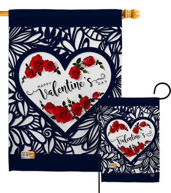 Roses are Love - Valentines Spring Vertical Impressions Decorative Flags HG192152 Made In USA