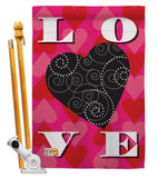 Love Heart - Valentines Spring Vertical Impressions Decorative Flags HG101050 Made In USA
