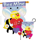 Bee Mine - Valentines Spring Vertical Applique Decorative Flags HG101039