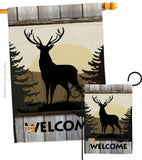 Welcome Deer - Wildlife Nature Vertical Impressions Decorative Flags HG110110 Made In USA