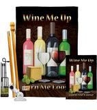 Wine Me Up, Turn Me Loose - Wine Happy Hour & Drinks Vertical Impressions Decorative Flags HG117030 Made In USA