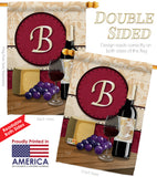 Wine B Initial - Wine Happy Hour & Drinks Vertical Impressions Decorative Flags HG130210 Made In USA
