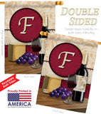 Wine F Initial - Wine Happy Hour & Drinks Vertical Impressions Decorative Flags HG130214 Made In USA