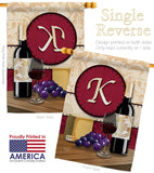 Wine K Initial - Wine Happy Hour & Drinks Vertical Impressions Decorative Flags HG130219 Made In USA