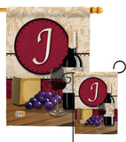 Wine J Initial - Wine Happy Hour & Drinks Vertical Impressions Decorative Flags HG130218 Made In USA