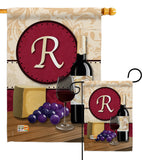 Wine R Initial - Wine Happy Hour & Drinks Vertical Impressions Decorative Flags HG130226 Made In USA