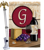 Wine G Initial - Wine Happy Hour & Drinks Vertical Impressions Decorative Flags HG130215 Made In USA
