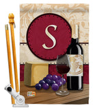 Wine S Initial - Wine Happy Hour & Drinks Vertical Impressions Decorative Flags HG130227 Made In USA