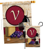 Wine V Initial - Wine Happy Hour & Drinks Vertical Impressions Decorative Flags HG130230 Made In USA