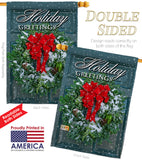 Holiday Greeting Wreath - Winter Wonderland Winter Vertical Impressions Decorative Flags HG114138 Made In USA