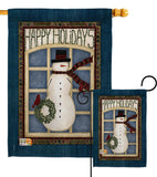 Happy Holidays Snowman - Winter Wonderland Winter Vertical Impressions Decorative Flags HG114164 Made In USA
