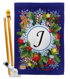 Winter J Initial - Winter Wonderland Winter Vertical Impressions Decorative Flags HG130088 Made In USA
