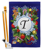 Winter T Initial - Winter Wonderland Winter Vertical Impressions Decorative Flags HG130098 Made In USA