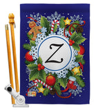 Winter Z Initial - Winter Wonderland Winter Vertical Impressions Decorative Flags HG130104 Made In USA
