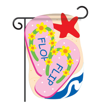 "Two Group G165046-P2 Flip Flop Summer Fun In The Sun Applique Decorative Vertical 13"" x 18.5"" Double Sided Garden Flag"