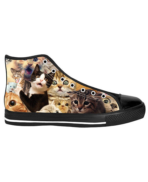 Surprised Cats Black Sole High Tops - Trendsy Tees