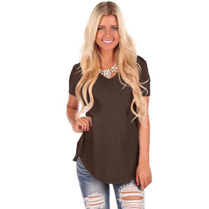 T SHIRT LONG PAS CHER. t shirt long femme col v MARRON. TEE SHIRT manches courtes.
