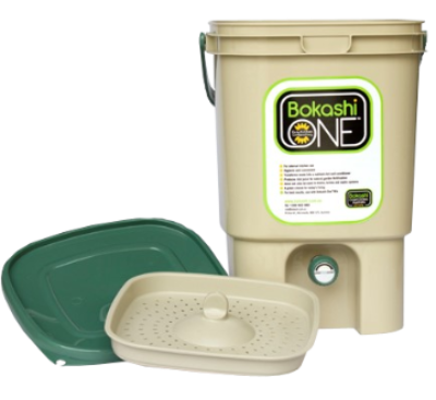 Bokashi One Composting - Tan with Green Lid Bucket & Bokashi One Mix 1kg Kit