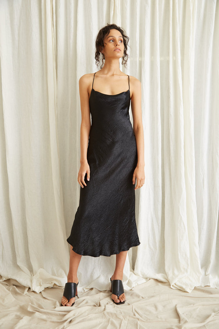 THIRD FROM | WATERS EDGE BIAS SLIP DRESS | BLACK