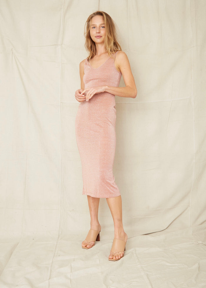 THIRD FORM | STAR DUST SCOOPED TANK DRESS | BLUSH