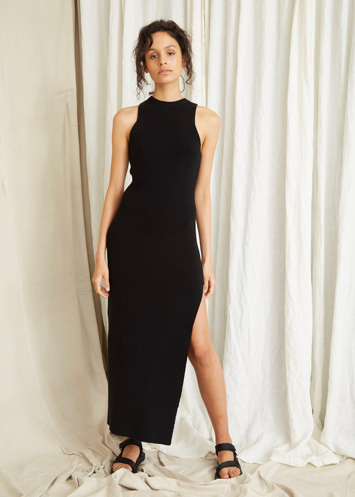 THIRD FORM | CAST AWAY KNIT MAXI TANK DRESS | BLACK