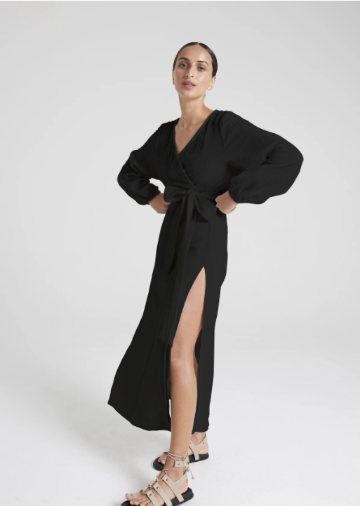 HONOUR | ROBE DRESS - BLACK