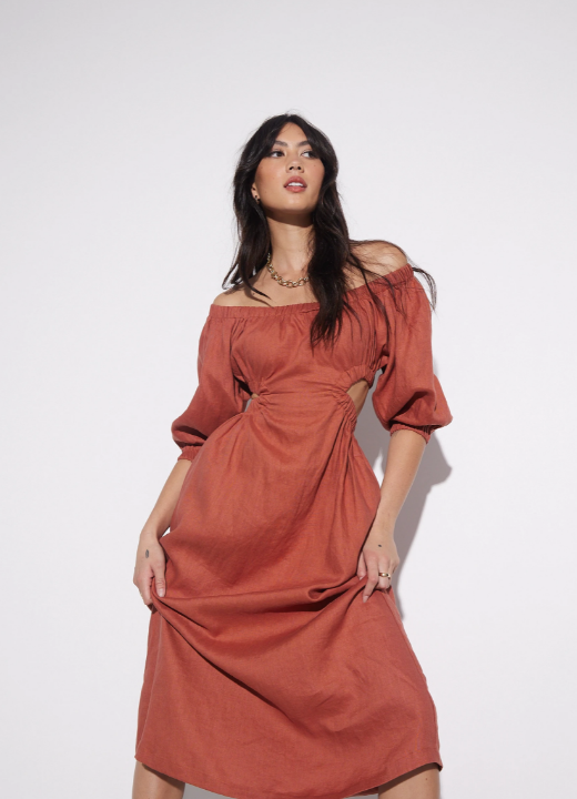 SOVERE | UNO CUT OUT MIDI DRESS - TERRACOTTA