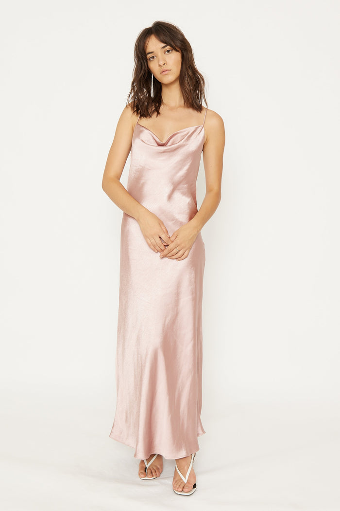 THIRD FORM | CROSS BACK COWL BIAS MAXI | BLUSH
