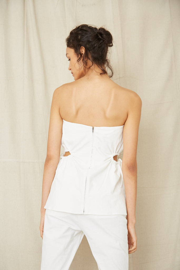 THIRD FORM | PRESSED FLOWERS DRAW SIDE STRAPLESS | OFF WHITE