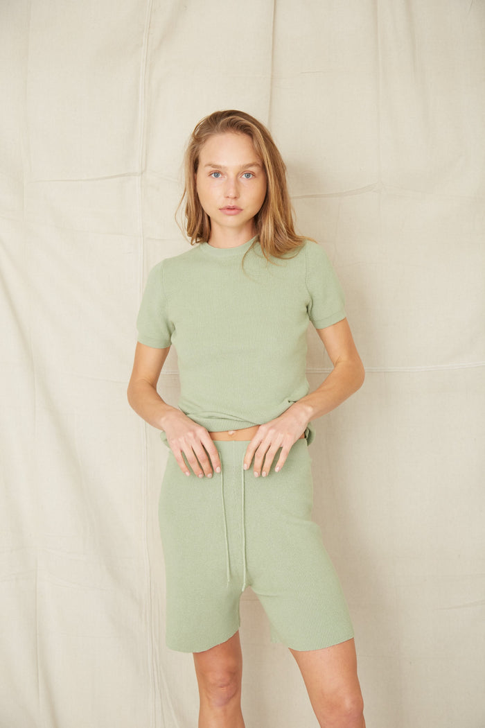 THIRD FORM | CAST AWAY KNIT RELAXED SHORT | PISTACHIO