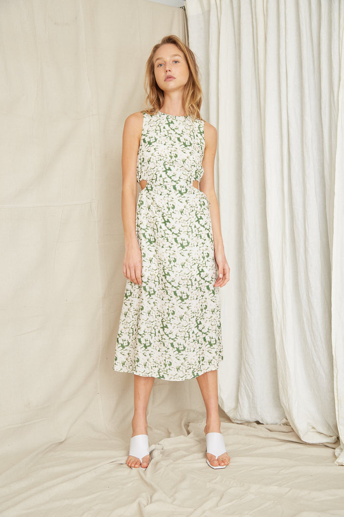 THIRD FORM | PRESSED FLOWERS DRAW SIDE MIDI | FLORAL