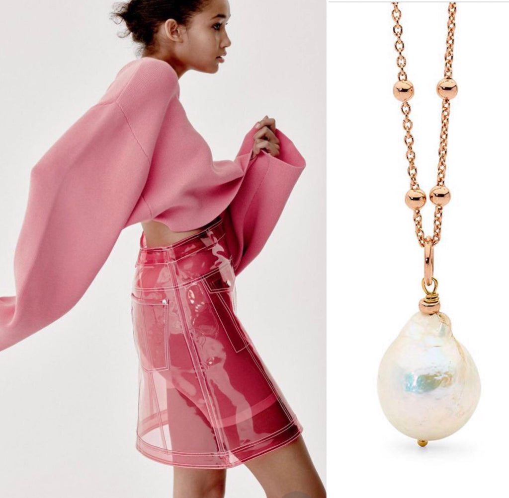 Leoni & Vonk pearl necklace and image from British Vogue