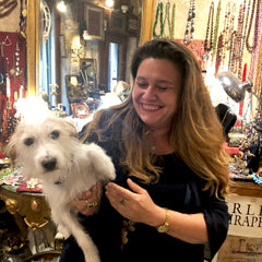 Image of Venetian bead shop owner and her dog in Venice