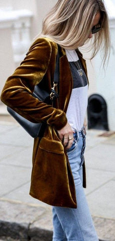 Luxe velvet brown blazer
