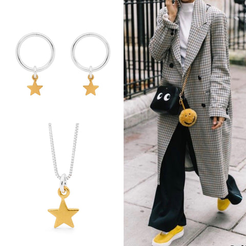 Leoni & Vonk gold star jewellery with oversized check coat